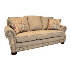 Whitaker Khaki Tweed Sofa with Nailhead Trim