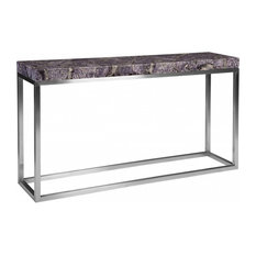 "60""Long Console Table Purple Amethyst Crystal Stainless Steel Base Stone 831"