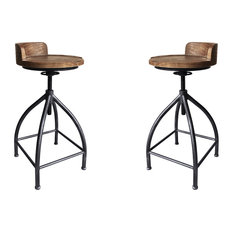 Fuchsia Industrial Metal Barstool Gray With Brown Wood Seat Set Of 2
