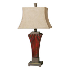 Uttermost Rosso Table Lamp, Ceramic, Fabric, Metal