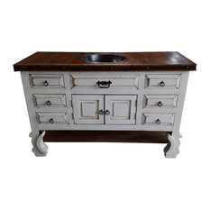 Saint Anthony White Rustic Bathroom Vanity White Washed 60 X 22 X 36 With Cop