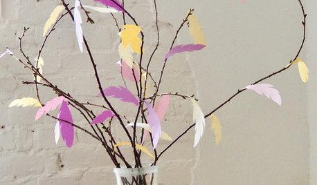 DIY: Frische Frühlingszweige mit Papierfedern basteln