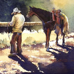 "Turner Fine Art - ""Cowboy Contemplative"" Limited Edition Print - ""Cowboy Contemplative"" 22 x 30 watercolor giclée on rag cotton paper. Edition size: 150. Based on the original work of Kathryn Mapes Turner."