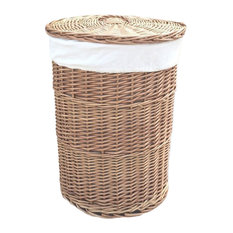 Light Steamed Round Laundry Baskets With White Lining, Large