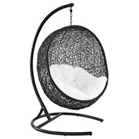 Encase Swing Outdoor Wicker Rattan Lounge Chair, Espresso White