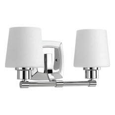 Glance Two Light Bath Vanity Polished Chrome Etched White Linen