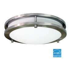 """Homeselects 2 Light 12"""" Saturn Flush Mount With Alabaster Glass Globe"""