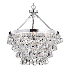 - Crystal Glass 5-Light Luxury Chandelier, Chrome - Chandeliers