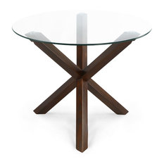 """Poly and Bark Kennedy 37.4"""" Round Dining Table, Walnut"""