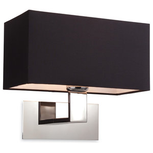 Prince Contemporary Wall Light, Polished Stainless Steel With Black Shade