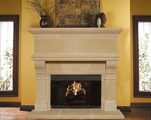 Mandalay Cast Stone Fireplace Mantel - Indoor Fireplaces - Cast Stone Fireplace Mantels