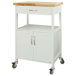 Modern Rolling Trolley Cart, White Lacquered MDF With 1-Drawer and Cabinet