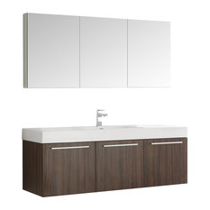 "Fresca Vista 60"" Walnut Single Sink Modern Bathroom Vanity With Medicine Cabinet"