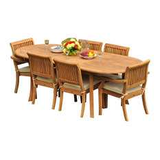 """7-Piece Teak Dining Set, 94"""" Ext Oval, 6 Arbor Stacking Arm/Armless Chairs"""
