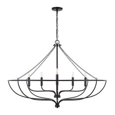 Capital Lighting 433261MB Nira 6 Light Chandelier, Matte Black