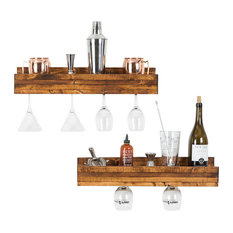 Small Luxe Wine Glass Shelves, Set of 2, Walnut