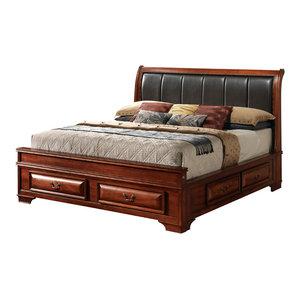 Blair Storage Bed, Cherry, Queen Glory Furniture