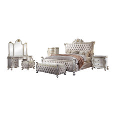 ACME Picardy California King Bed, Fabric and Antique Pearl