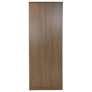 Wardrobe, MDF With 2-Door and Internal Hanging Rail, Simple Modern Design, Oak