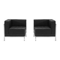Offex OFX-274370-FF Black Leather 2-Piece Corner Chair Set