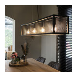Industrial Pendant Lamp 4 with Glass Panel Dark Grey - Cage