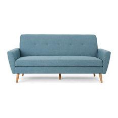 GDFStudio - Doris Mid Century Fabric Couch, Blue - Sofas