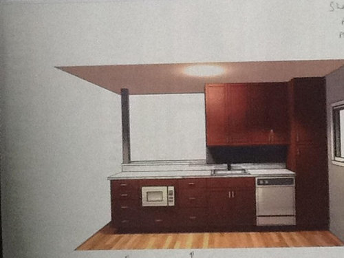 Two Tone Kitchen In A Small Galley