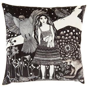 The Girl and the Fox Cushion Cover, Velvet