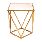 Maia Metal Side Accent Table With Marble Top, Gold