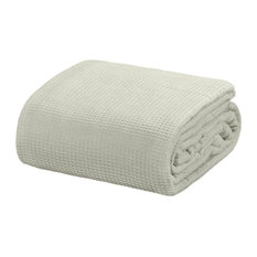 Crover Collection All Season Thermal Waffle Cotton Blanket, Grey, Twin
