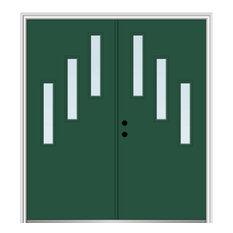 "60""x80"" 3-Lite Clear RH-Inswing Painted Fiberglass Double Door, 6-9/16"" Frame"