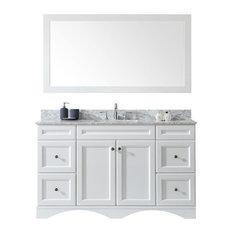 """Talisa 60"""" Single Bathroom Vanity,White,Marble Top,Square Sink,Mirror"""