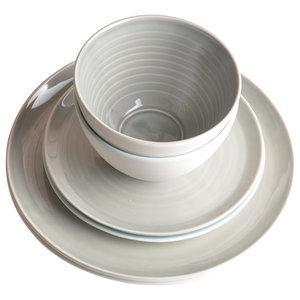 Tactile Porcelain Dinner Set, Grey