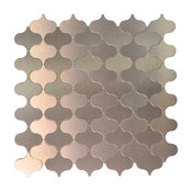 "12""X12"" Peel and Stick Metal Wall Tile, Arabesque Brushed Bronze, Set of 10"