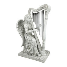 Design Toscano   Large Music From Heaven Angel Statue   Garden Statues And  Yard Art