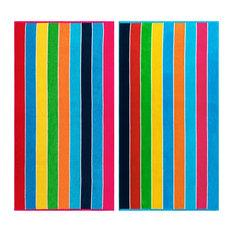 Seven Mile Egyptian Cotton Multicolor Rainbow Stripes Oversized Beach Towel Set