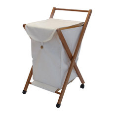 Laundry Basket With Closable Bag, Cherry Wood