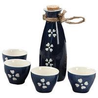 5 Pc Ceramic Sake Set Japanese Porcelain Sake Cups D