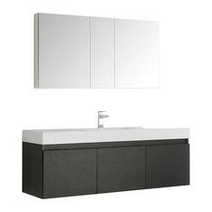 """Mezzo 60"""" Black Single Sink Bathroom Vanity and Medicine Cabinet"""