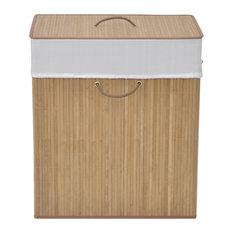 vidaXL Bamboo Laundry Bin Rectangular, Natural