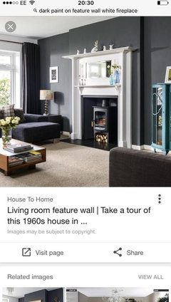 Dark Grey Feature Wall Houzz Uk