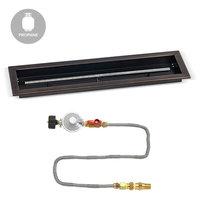 "Match Light Fire Pit Kit, Oil Rubbed Bronze Trough Pan, LP, 30""x6"""