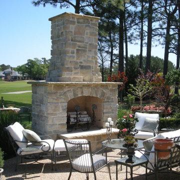 Outdoor Limestone Fireplace