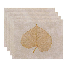 Leaf Study Floral Print Placemat, Set of 4, Gold