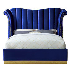 Flora Black Velvet Bed, Navy, Queen