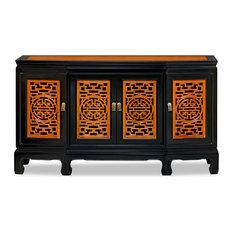 Black Trim Natural Finish Rosewood Longevity Sideboard With Lattice Doors