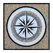 "Blue Wind Rose Mosaic, Ella, 24""x24"""
