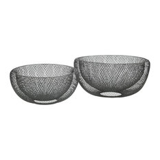 Pomax Kabu Steel Baskets, Silver, Set of 2