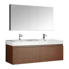 "Fresca Mezzo 60"" Teak Double Sink Modern Bathroom Vanity With Medicine Cabinet"