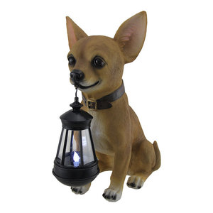 Little Light Keeper Chihuahua Statue and LED Lantern